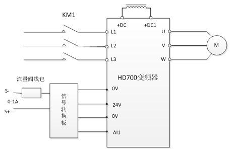 做出如下控制方案:用变频器改造后,电机  接成三角形,变频器上电直接
